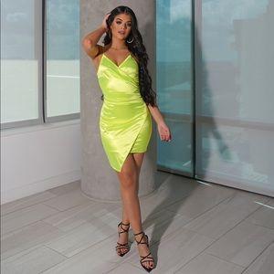 Neon Yellow Asymmetrical Wrap Front Mini Dress